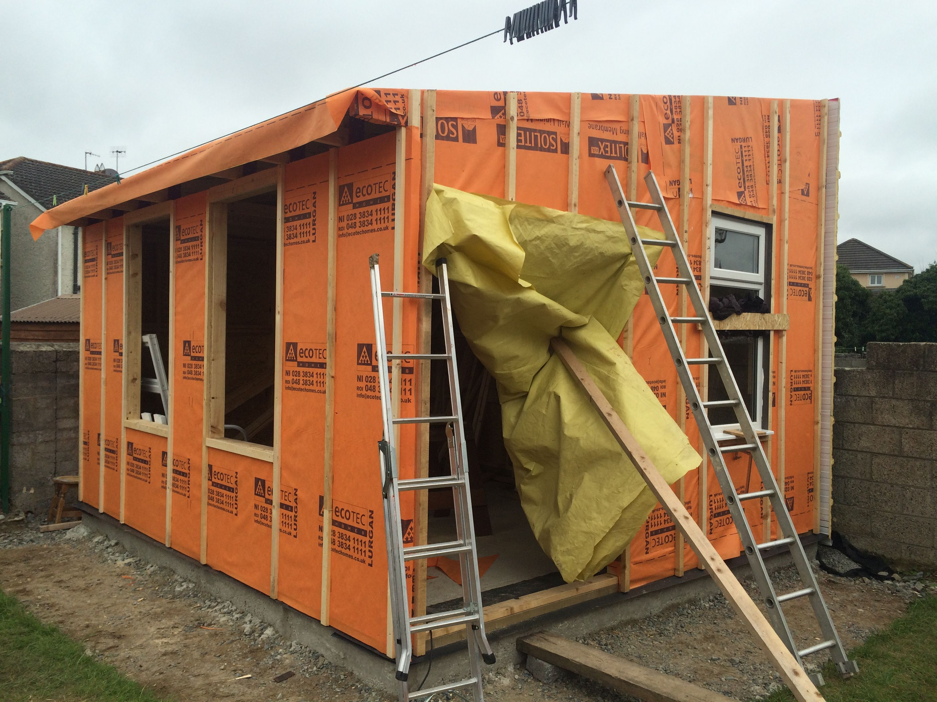 Front and gable end walls battened and preped for fitting external