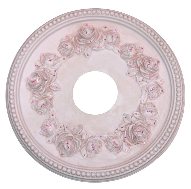 Pink Rose Jeweled Ceiling Medallion for Chandelier