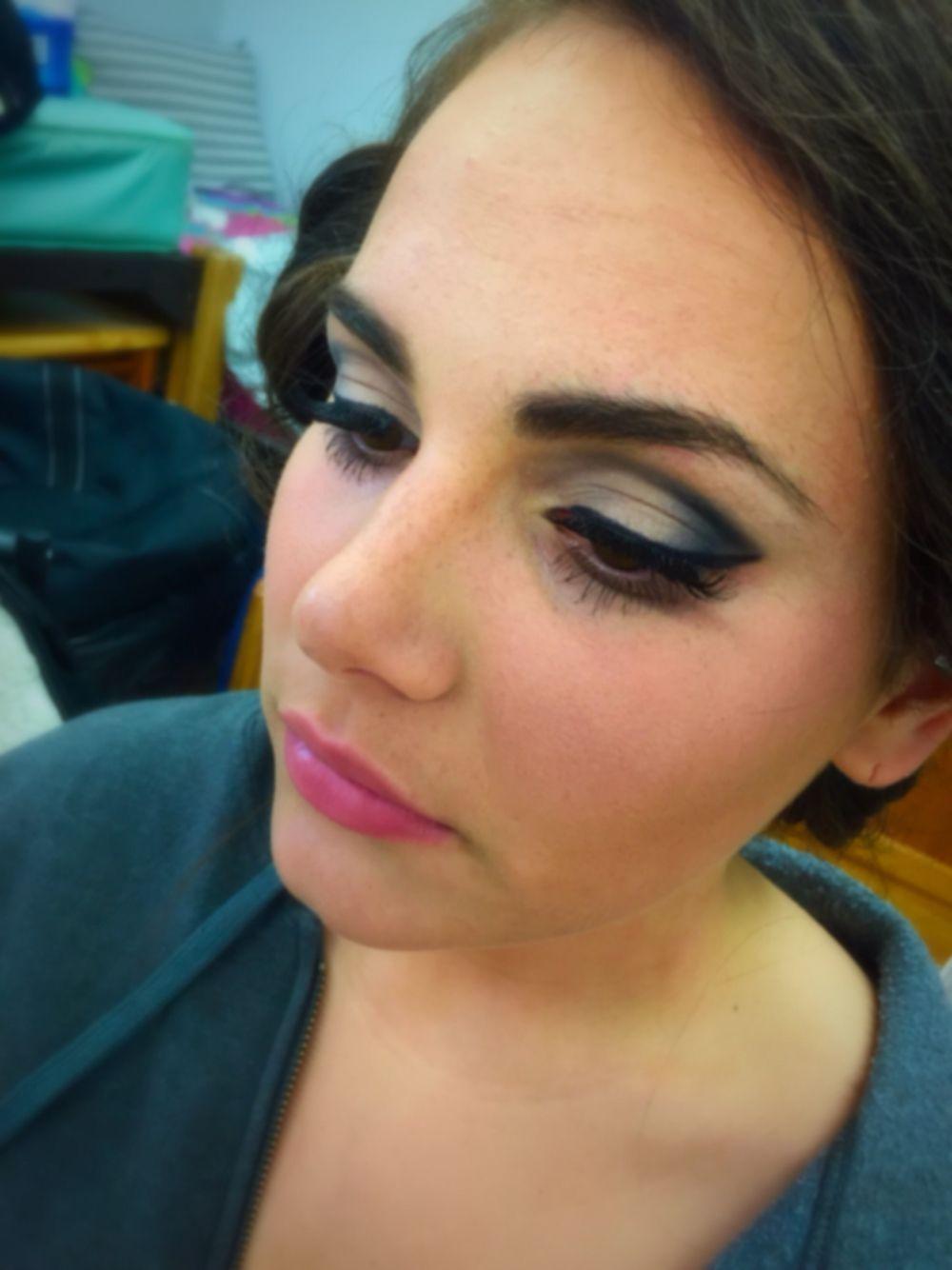 Extreme nose piercing  Comencement Ball makeup eyeshadow eyelashes makeup contour