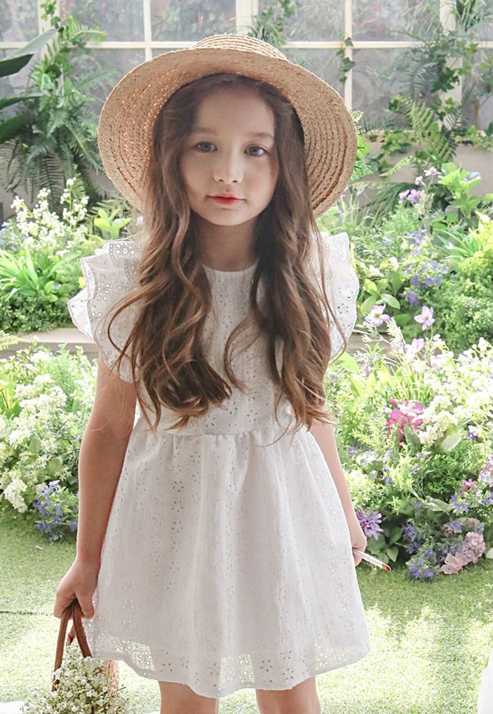 Claude Frill Floral Punch Cotton Lace Dress, Kids Baby Girls Spring Summer Dress #FrillDress #BridesmaidDressyEverydayHolidayParty