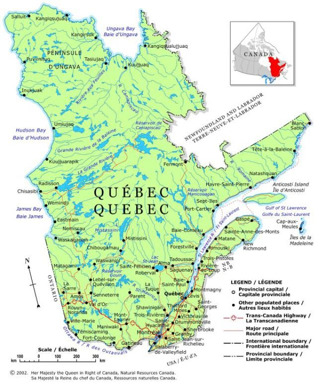 Quebec Canada Map on