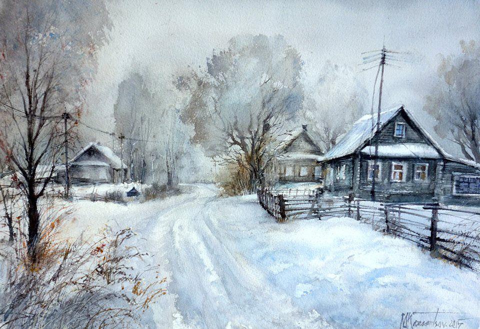 Картинки деревенский пейзаж акварелью