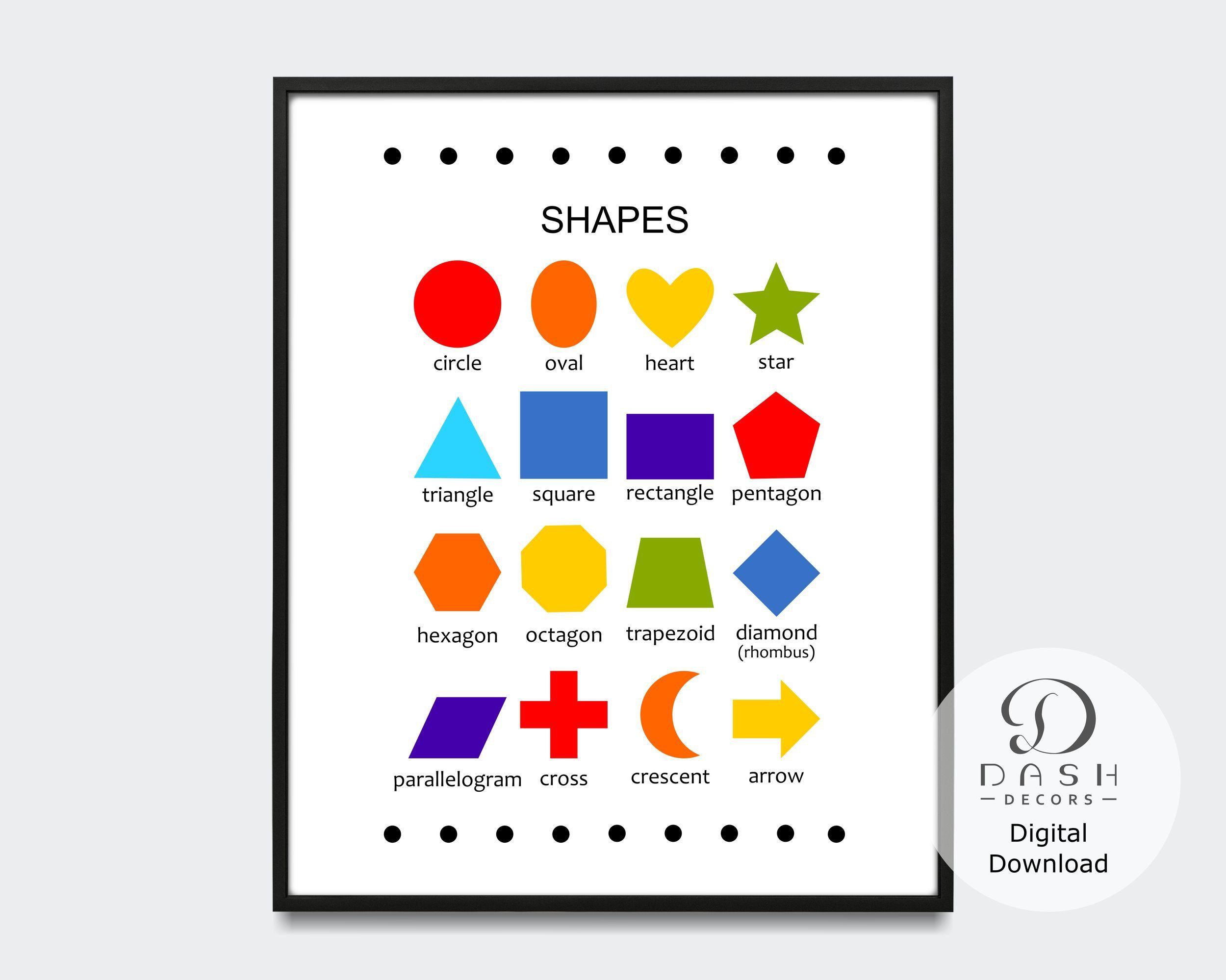 Printable Classroom Decor,Montessori Education Rainbow Shape Chart-Geometric Shapes Wall Art Homeschool Print Homeschool Resources
