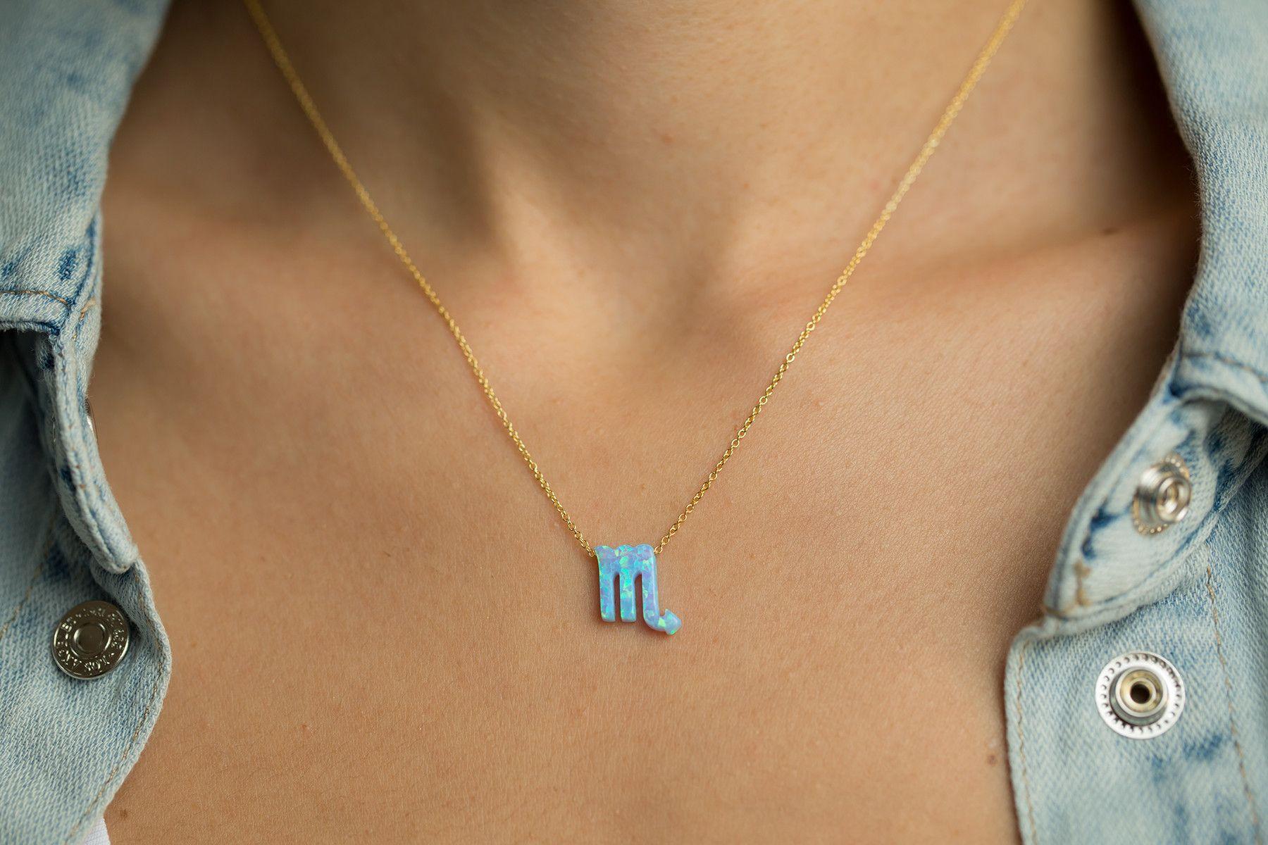 Blue Opal Scorpio Zodiac Sterling Silver Necklace Gold w
