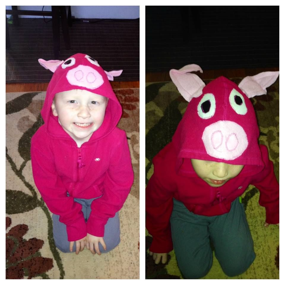 Diy upcycled hoodie into piggy costume pig costume do it diy upcycled hoodie into piggy costume pig costume solutioingenieria Images