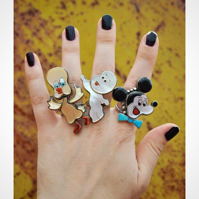 Vintage Zuni Tweety Bird Casper and Mickey Mouse rings ✨ DM for