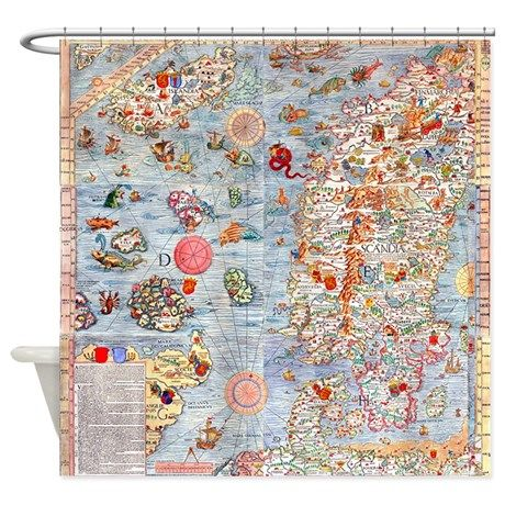 Carta Marina Sea Monster Map Shower Curtain By Jchardesigns Sea Monsters Map Shower