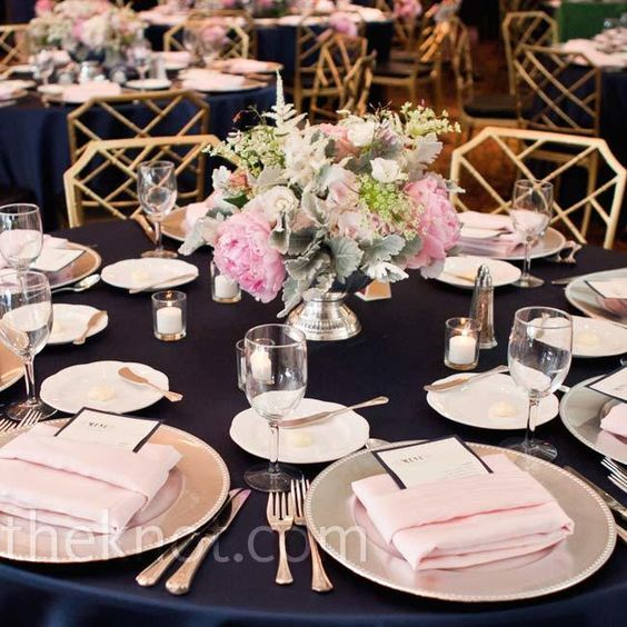 Style Of Dark blue table cloth silver grey show plate white serving plates silver cutleries Change blush napkins to clear grey and different centrepiece no Photo - Contemporary navy napkins Simple