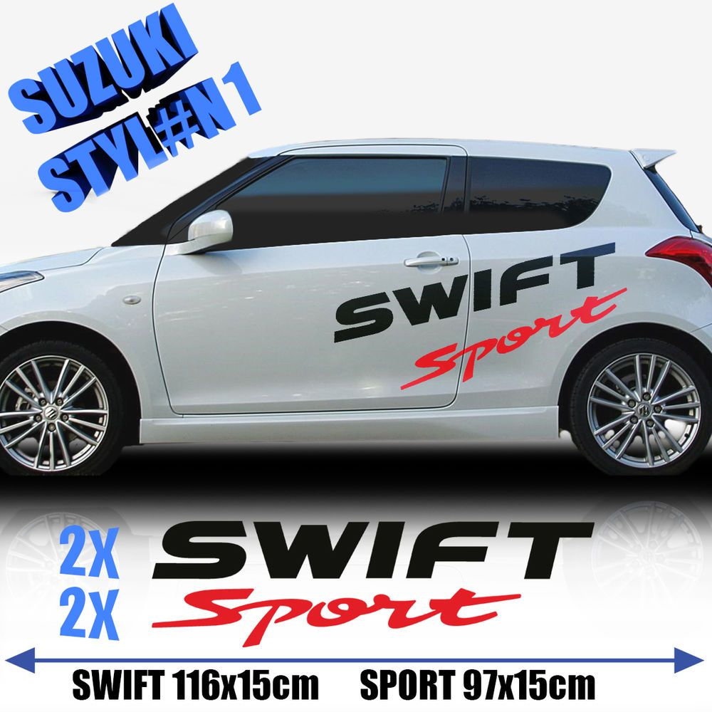 Details About Suzuki Swift Sports Side Racing Stripes Decal - Graphics for the side of a car