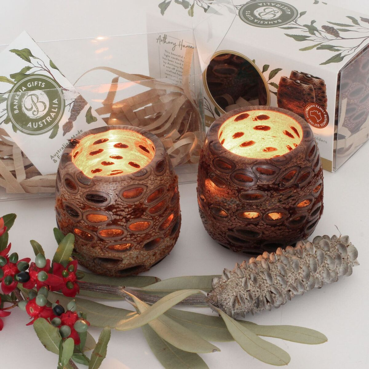 Boxed pair of banksia nut ball tea light candle holders