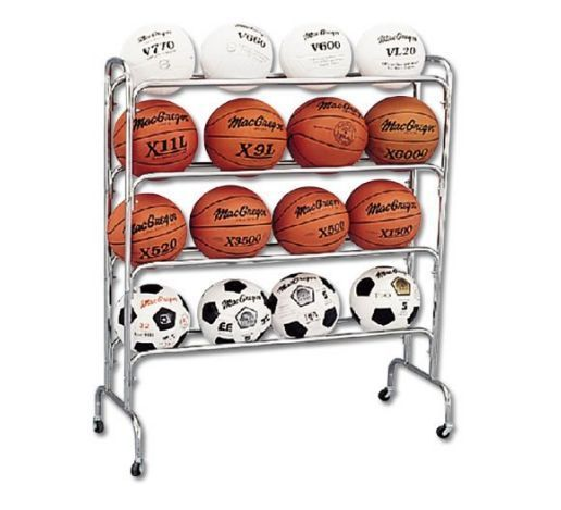 Basketball Rack Ball Storage Cart Soccer Volleyball Balls Organizer Holder Sport Ball Storage No Equipment Workout Sports Equipment Storage