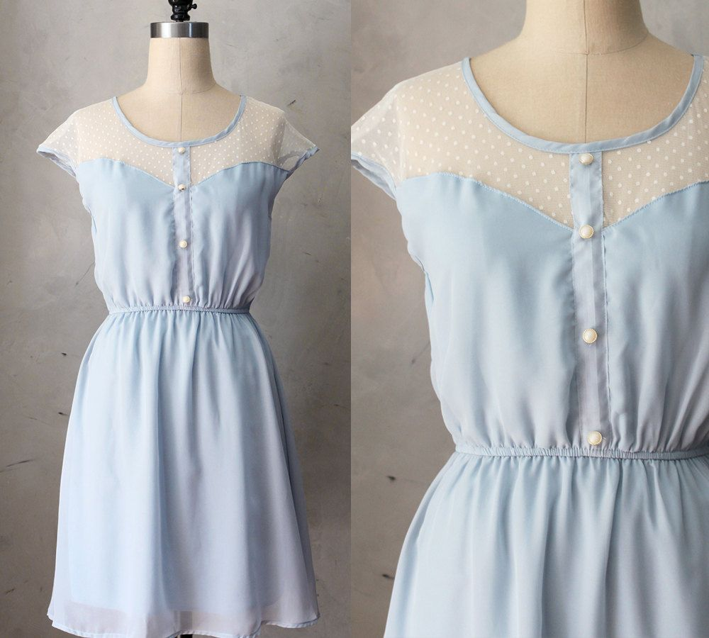 Long dress light blue vintage « Dress lady style