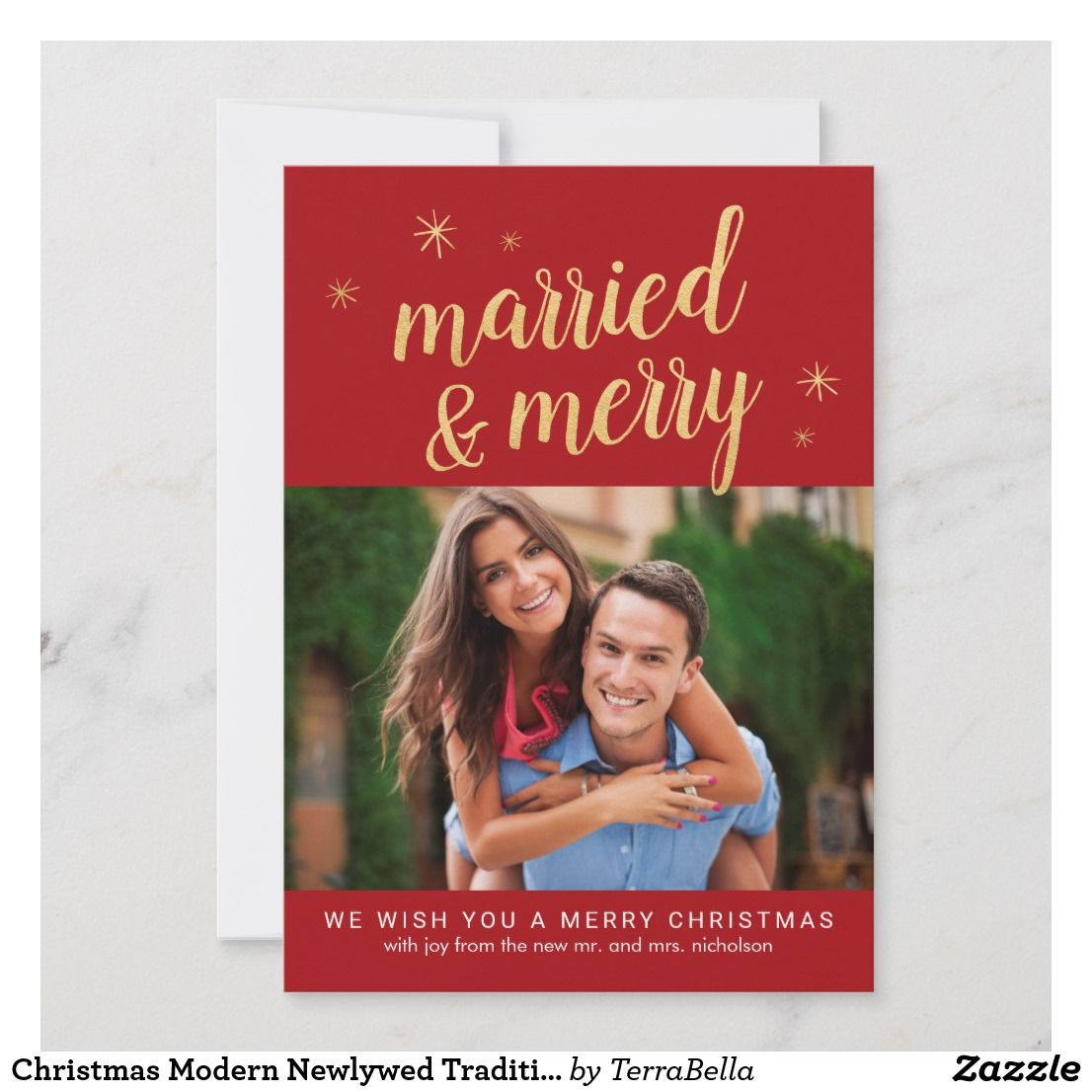 Christmas Modern Newlywed Traditional Colors Photo Holiday Card Zazzle Com Holiday Photo Cards Holiday Design Card Holiday Cards