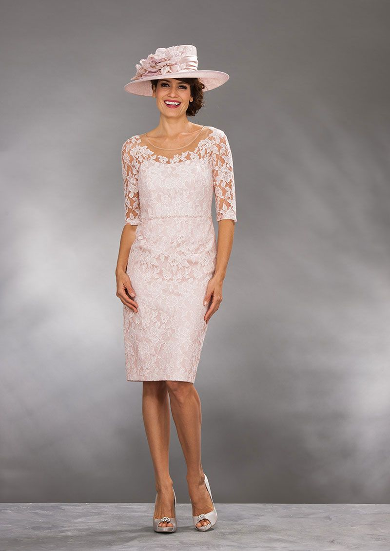 Short fine lace dress with elbow length sleeves and waist length