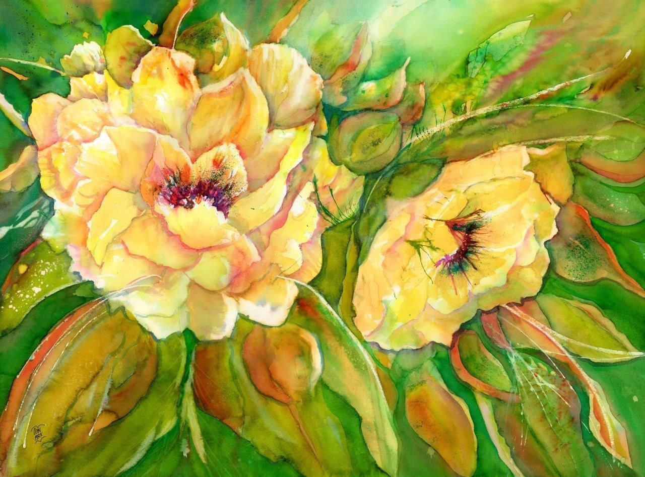 Yellow Peony Flowers Expressionistic Flower Painting In Watercolor