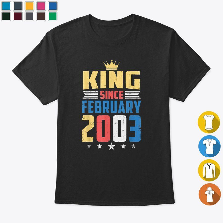 Vintage King Since February 2003 17th Birthday 17 Years Old Tshirt, Hoodies & Sweatshirts Unisex - Black (S, Cotton)