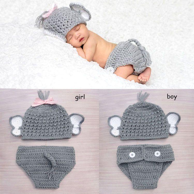 Elefante Traje de Punto de ganchillo Bebé Sombrero Del Bebé y ...