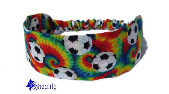 Soccer Headband, Tie Dye Soccer Ball Print Fabric, Sports Bandana Hair Band with Elastic Back, Girls Preteen, Handmade by Sheylily on Etsy