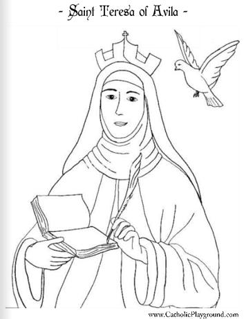 Saint Teresa of Avila coloring page: October 15th - Catholic ...