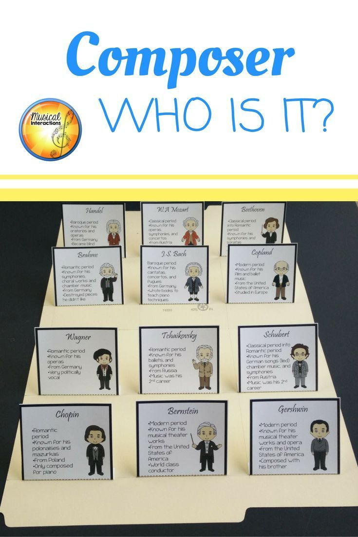 Composer Who Is It?- File Folder Game | Musical Interactions on