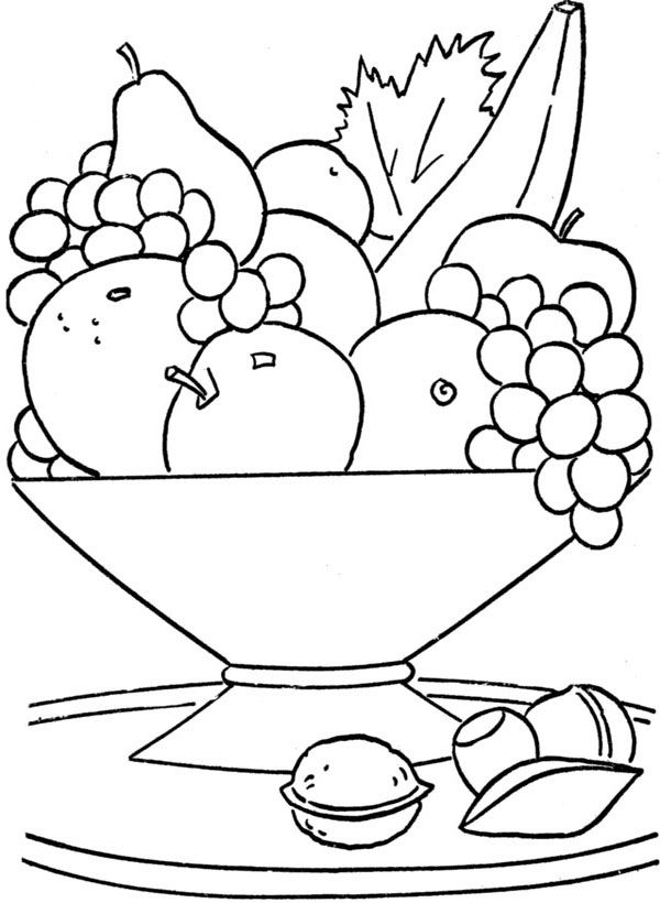 Printable Fruit Basket On The Table Coloring Pages Kids   Coloring ...