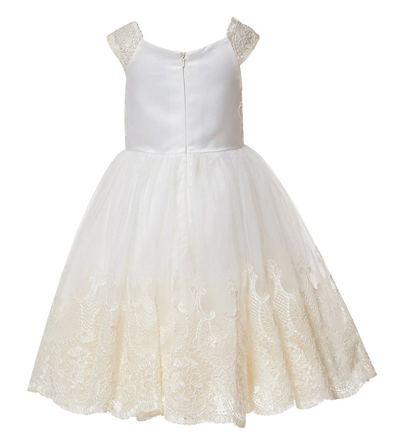 Thstylee champagne lace flower girl dress little girls toddlers