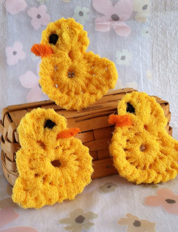 Nylon Pot scrubber Dish Scrubber, 3 Canaries in a Birdcage, Doubled ...