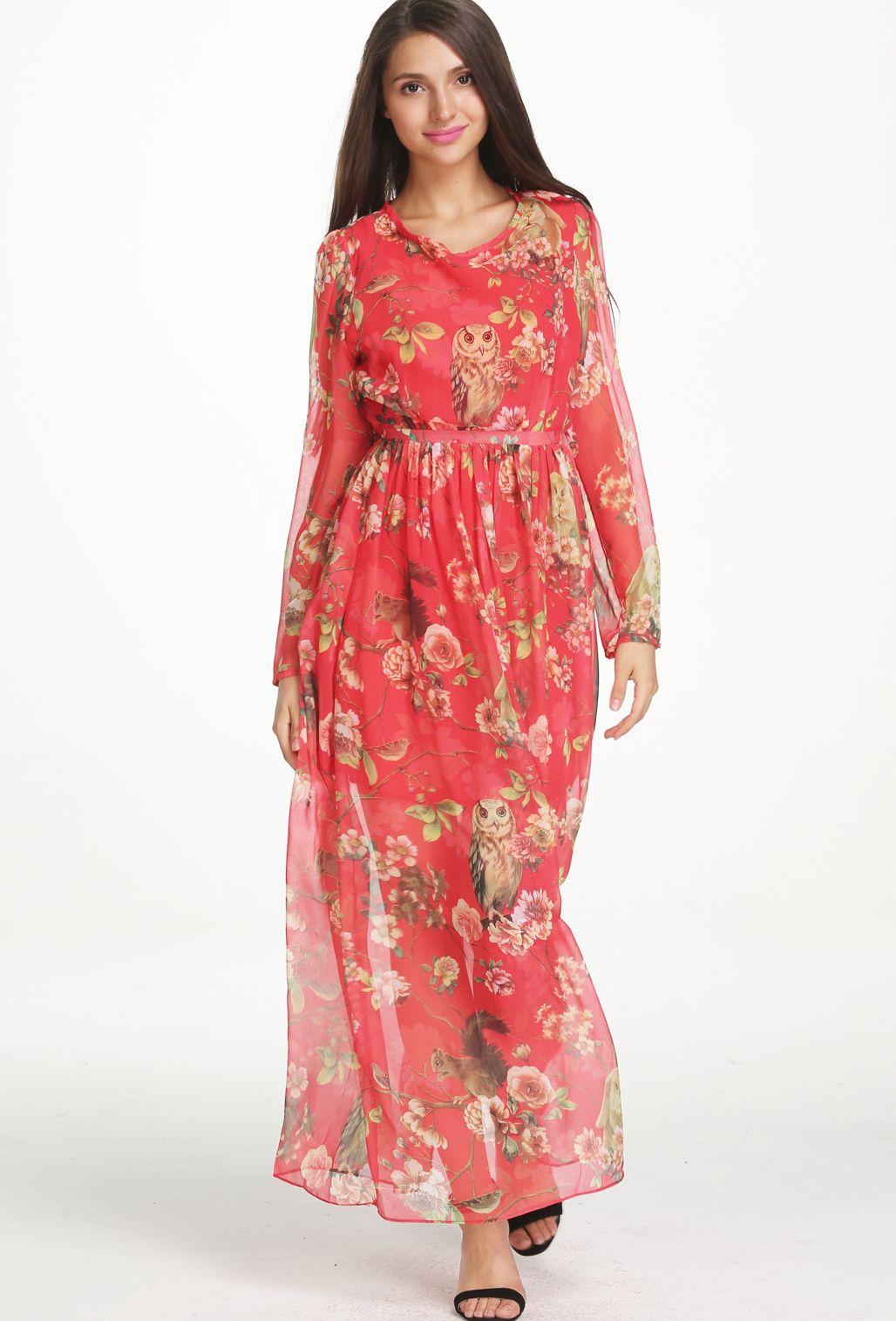 Red long sleeve floral owl print maxi dress beautiful saris and