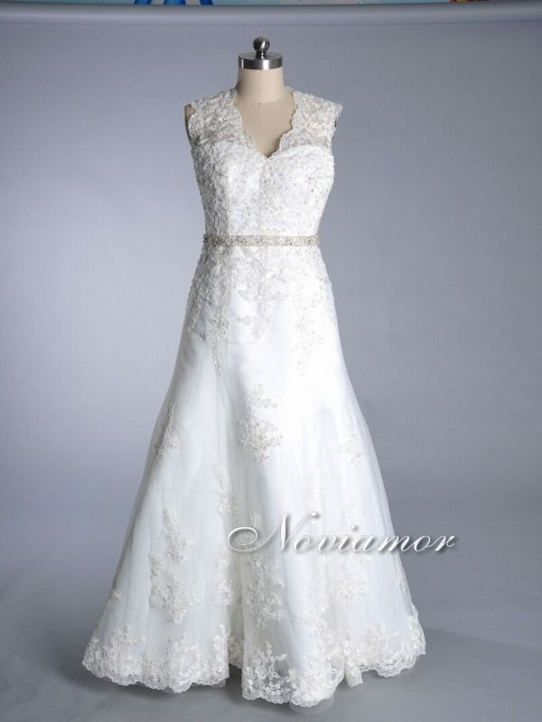 vintage wedding dresses | Lace Overlay Two cap sleeves Bridal Dress ...
