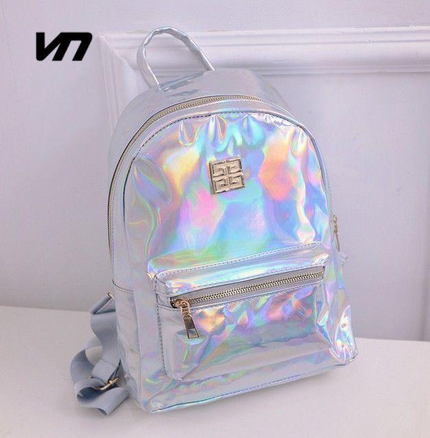 2016 Summer New Fashion Hologram Laser Backpack Female Student PU Leisure  Travel Backpack Casual Multicolor Bag 4ca910b26ee36