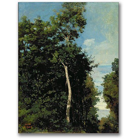 Trademark Fine Art The Wood On The Cote De Grace Canvas Wall Art by Jean Baptiste Corot, Size: 35 x 47, Multicolor