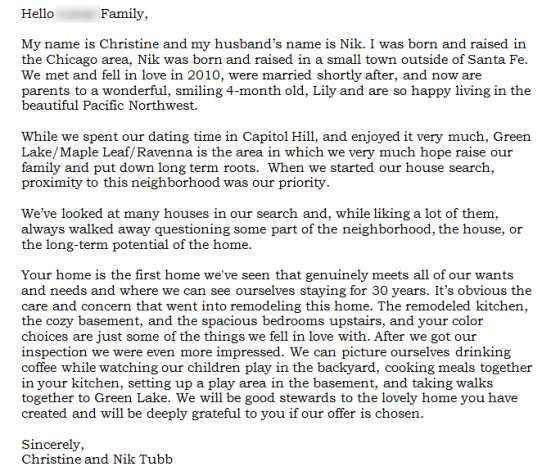 Dear Seller Letters Work For Home Buyers Seattlepi With Images
