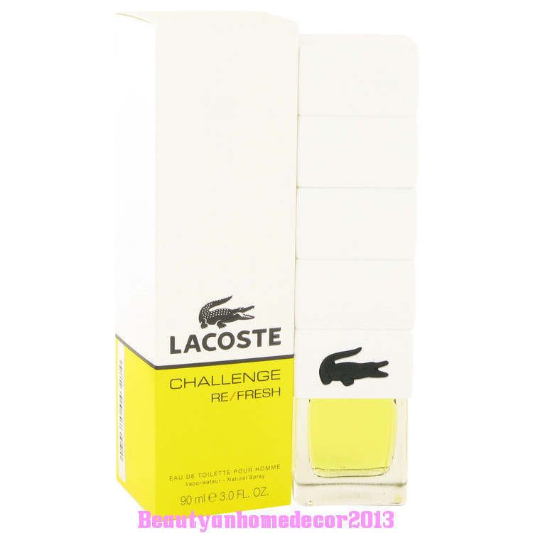 Lacoste Challenge Refresh by Lacoste 3 oz EDT Cologne Spray for Men New in Box #Lacoste