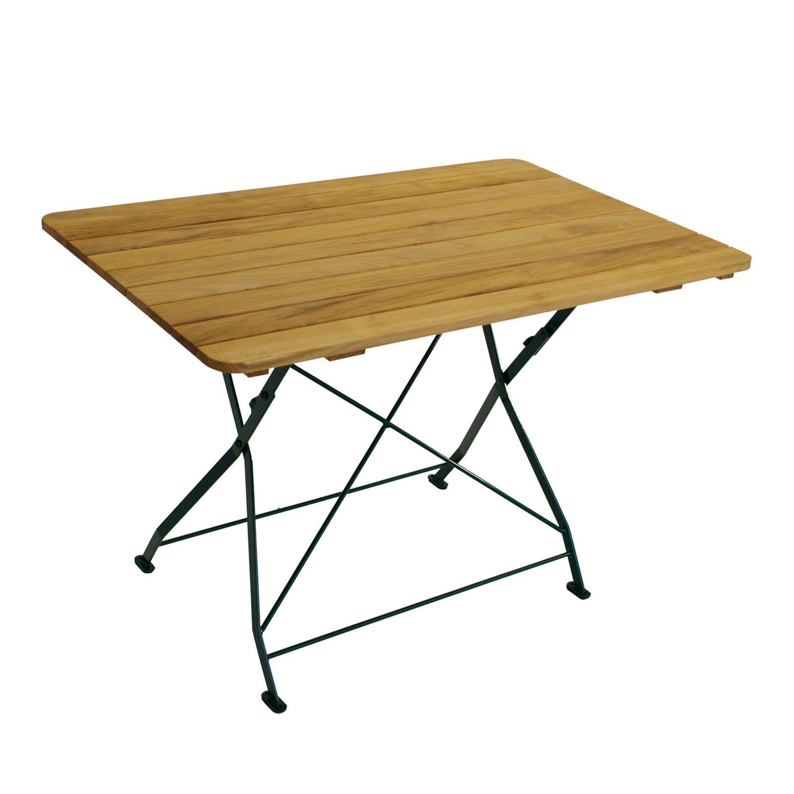 Parktischer Klapptisch Aus Robinie Holz Flachstahl In Grünem Gestell Tisch  Gartentisch 110x70x72cm Klappbar #tisch #