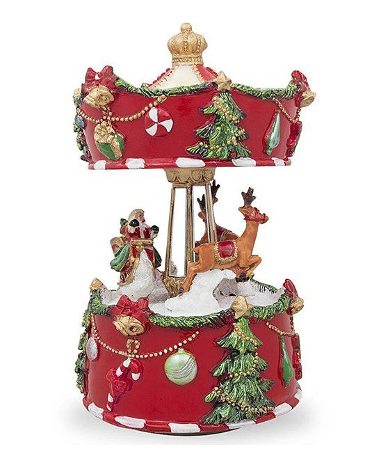 Rotating Santa  Reindeer Music Box Snow Globes and Music Boxes - christmas carousel decoration