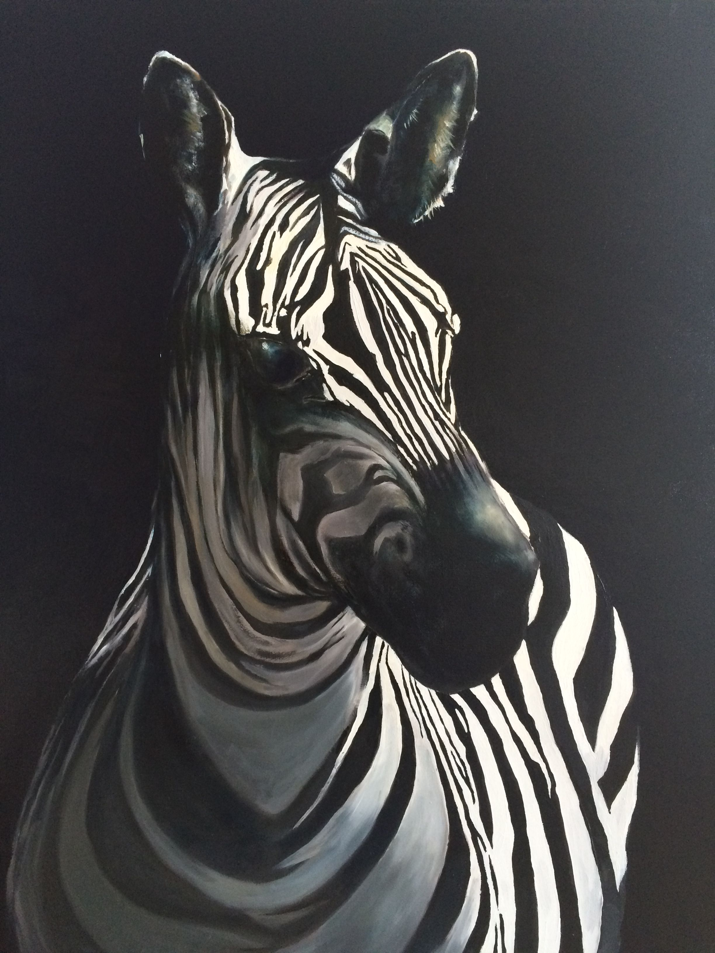 Zebra, Öl auf Leinwand, 80X40 cm Sonntagsarbeit, Malerei, Kunst, art work