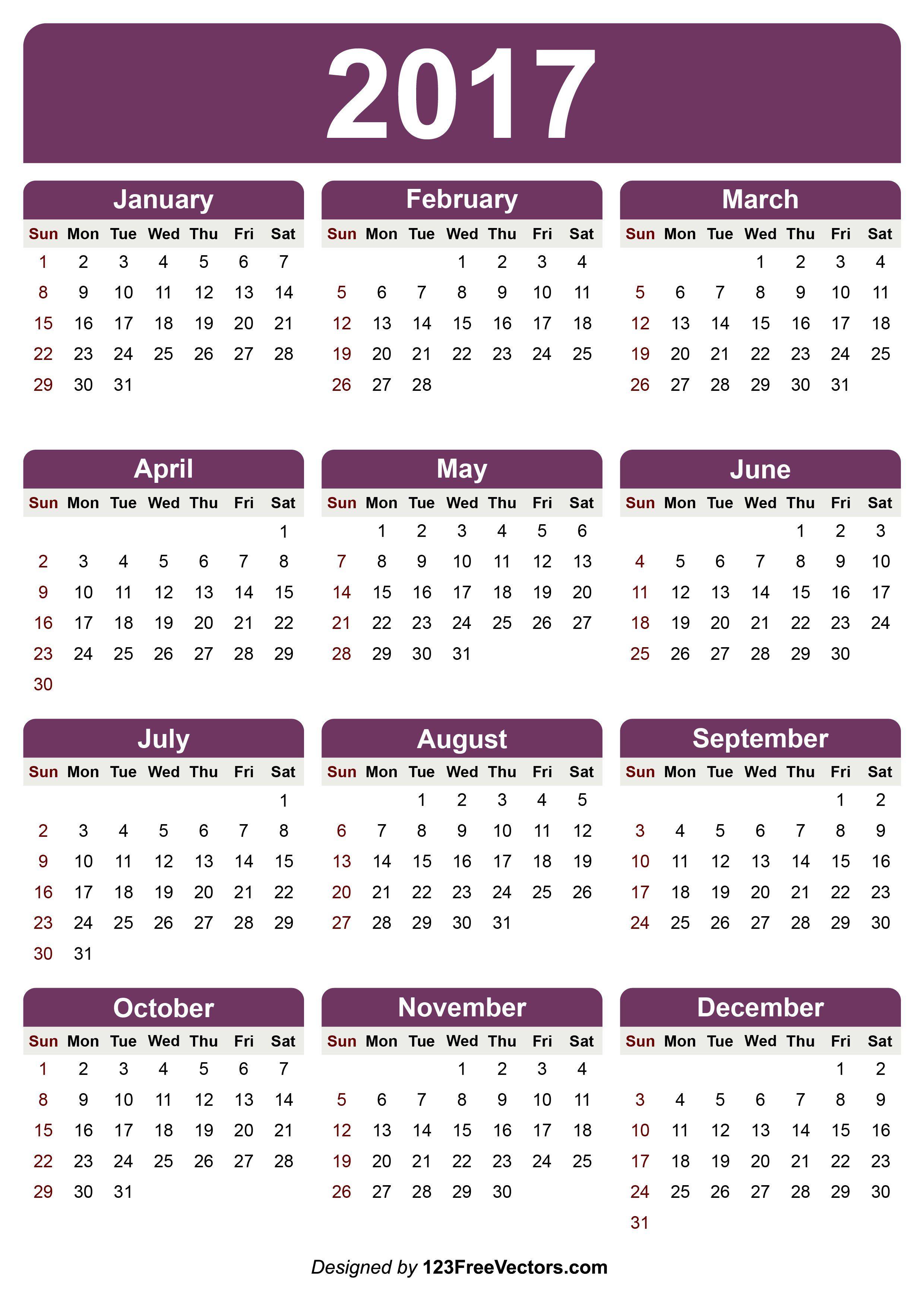 Calendar 2017 Printable | 2017 Calendar | Calendar 2017