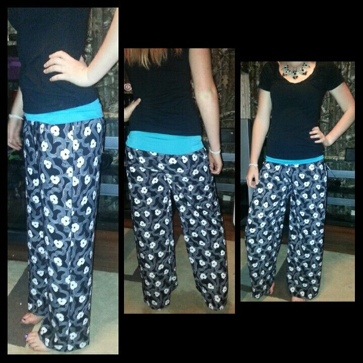 Palazzo pants!  Black and white floral design with teal waist $40 nTICing dEsigns