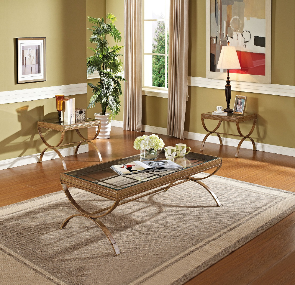 Quintin Gold Coffee Table 80080 Acme Corporation Coffee Tables Coffee Table End Table Sets Acme Furniture [ 966 x 1000 Pixel ]