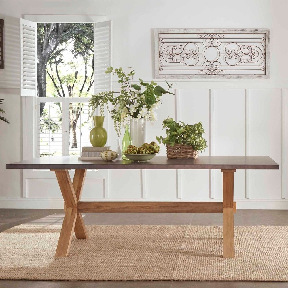Aberdeen Industrial Zinc Top Weathered Oak Trestle Dining Table by iNSPIRE Q  Artisan by iNSPIRE Q