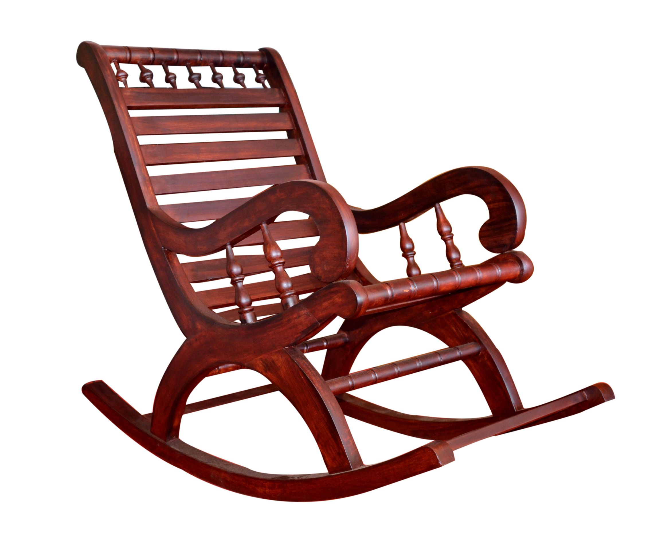 Furniture Brown Laminated Wooden Unique Rocking Chair