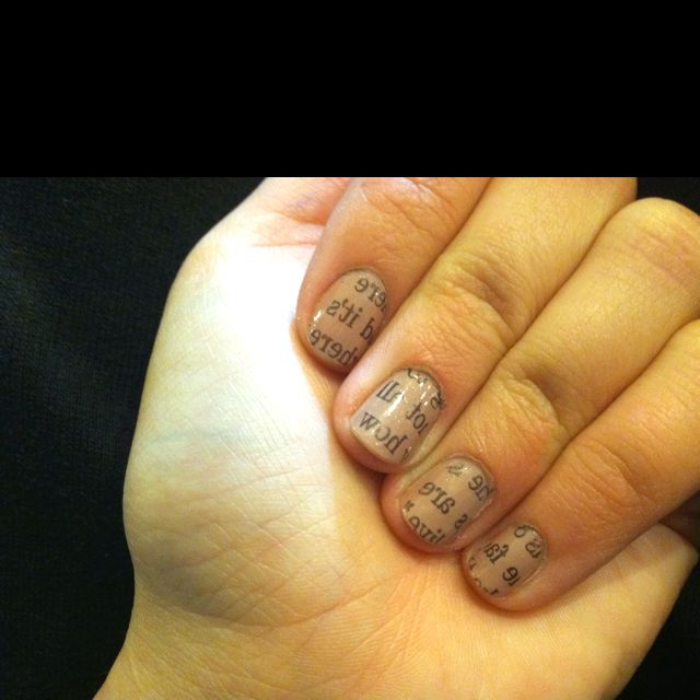 My attempt at the newspaper nails, I love them!