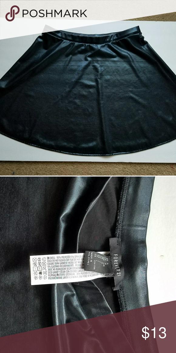 Faux Black Leather Skirt Mini Skirt from Forever 21 Forever 21 Skirts Mini
