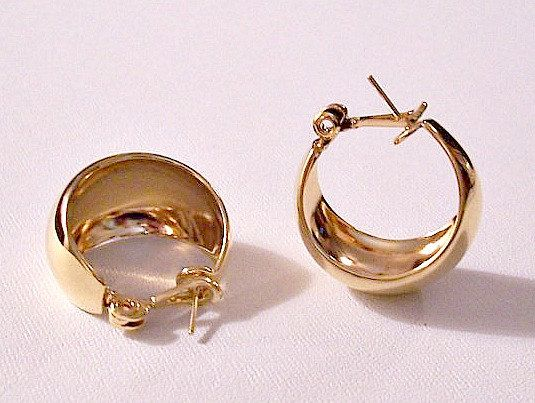 Monet Wide Bottom Hoop Style Pierced Surgical Steel Post Earrings Vintage Gold Tone Highly Reflective Polished