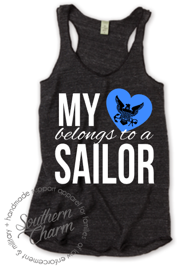 Southern Charm Designs My Heart Belongs To A Sailor Top