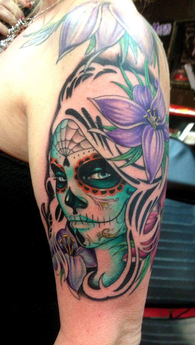 Day of the dead tattoo Done by Squablo in the Daytona Beach Fl area