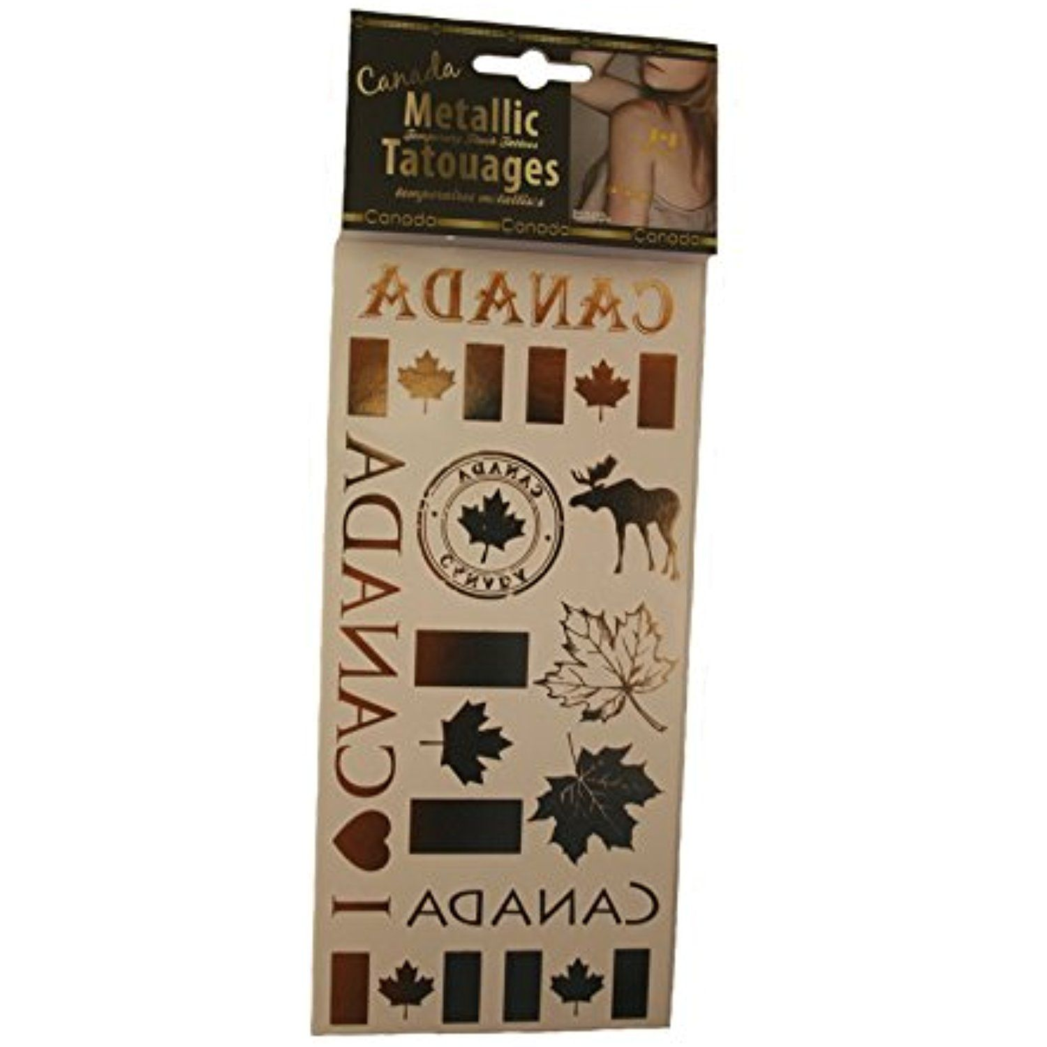 1 Pack Of 12 Canada - Moose Country Flag Temporary Metallic Tattoos .. New ** Check out the image by visiting the link. (This is an affiliate link) #TemporaryTattoos