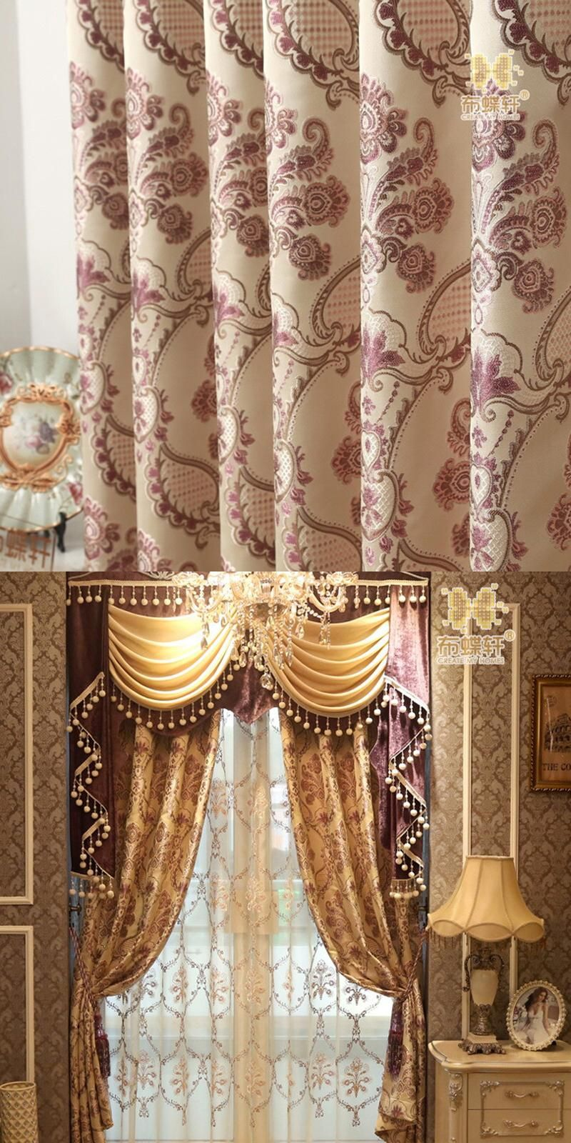 High Grade Double Side Jacquard Room Darkening Purple Blackout Interesting Luxury Curtains For Living Room Design Inspiration