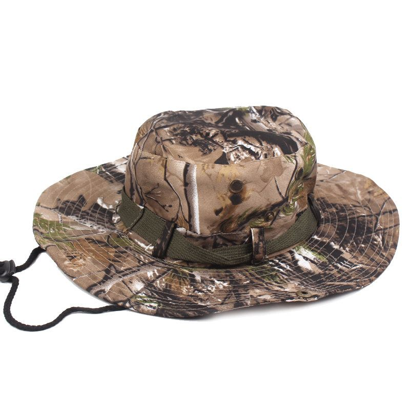 e9b59f7f40a Mens Wide Brim Jungle Visor Fisherman Hats Outdoor Camping Hunting Military Bucket  Hat - NewChic