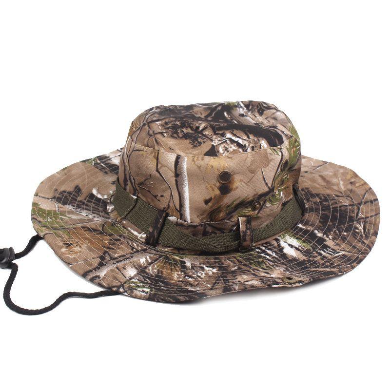 Mens Wide Brim Jungle Visor Fisherman Hats Outdoor Camping Hunting Military Bucket Hat
